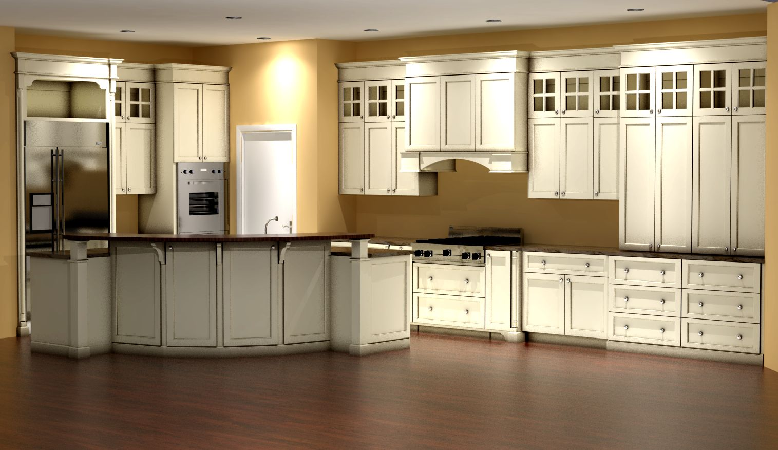 Kitchen 3d rendering enamel with glazed finish nick for Armoire de cuisine en merisier