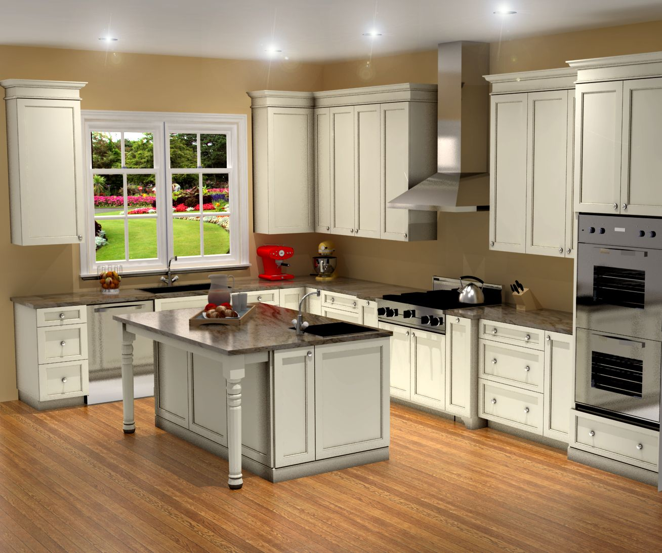 Traditional white kitchen design 3d rendering nick for Kitchen designs and layout