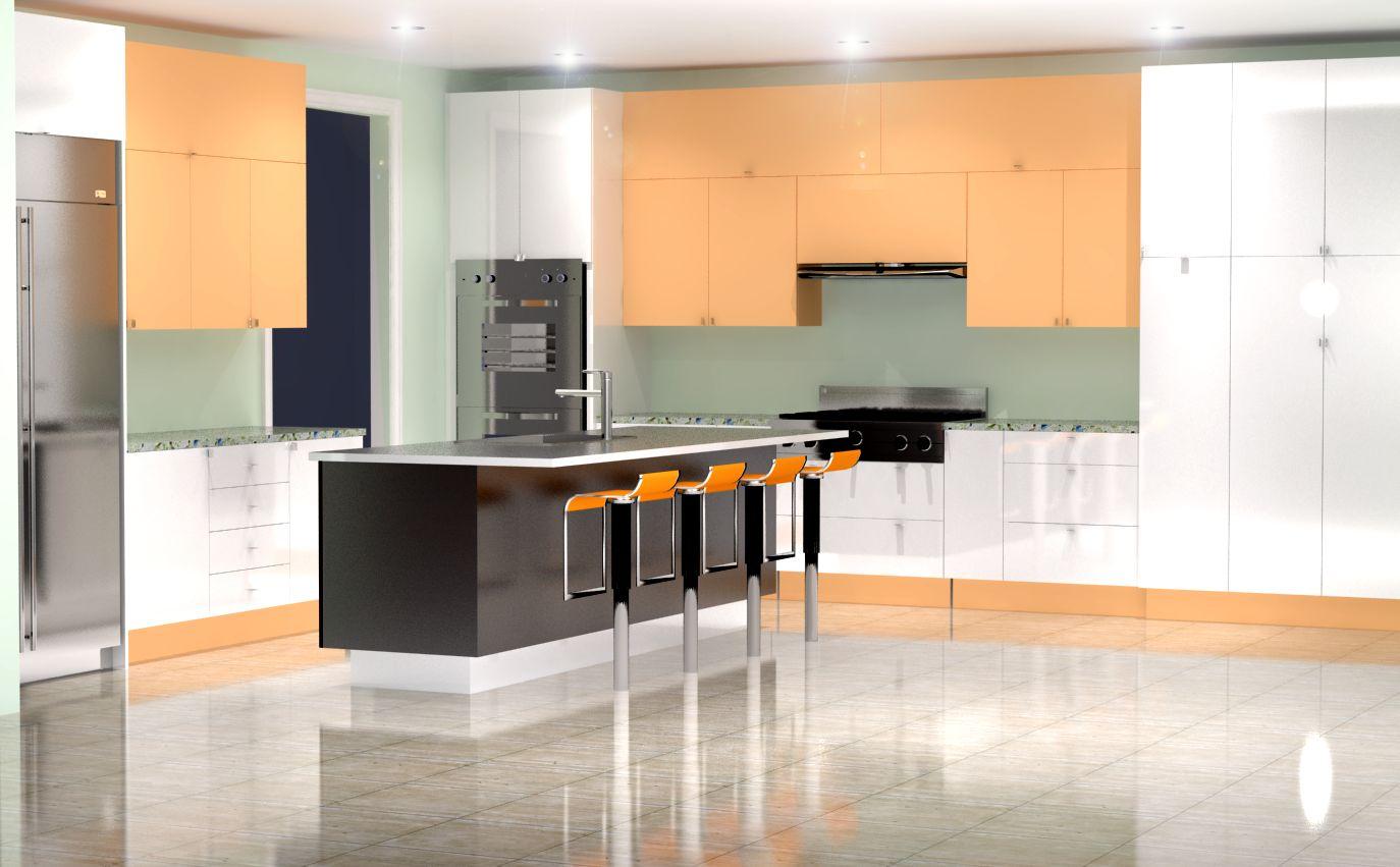 Rendering High Gloss White And Orange Finish Nick Miller Design