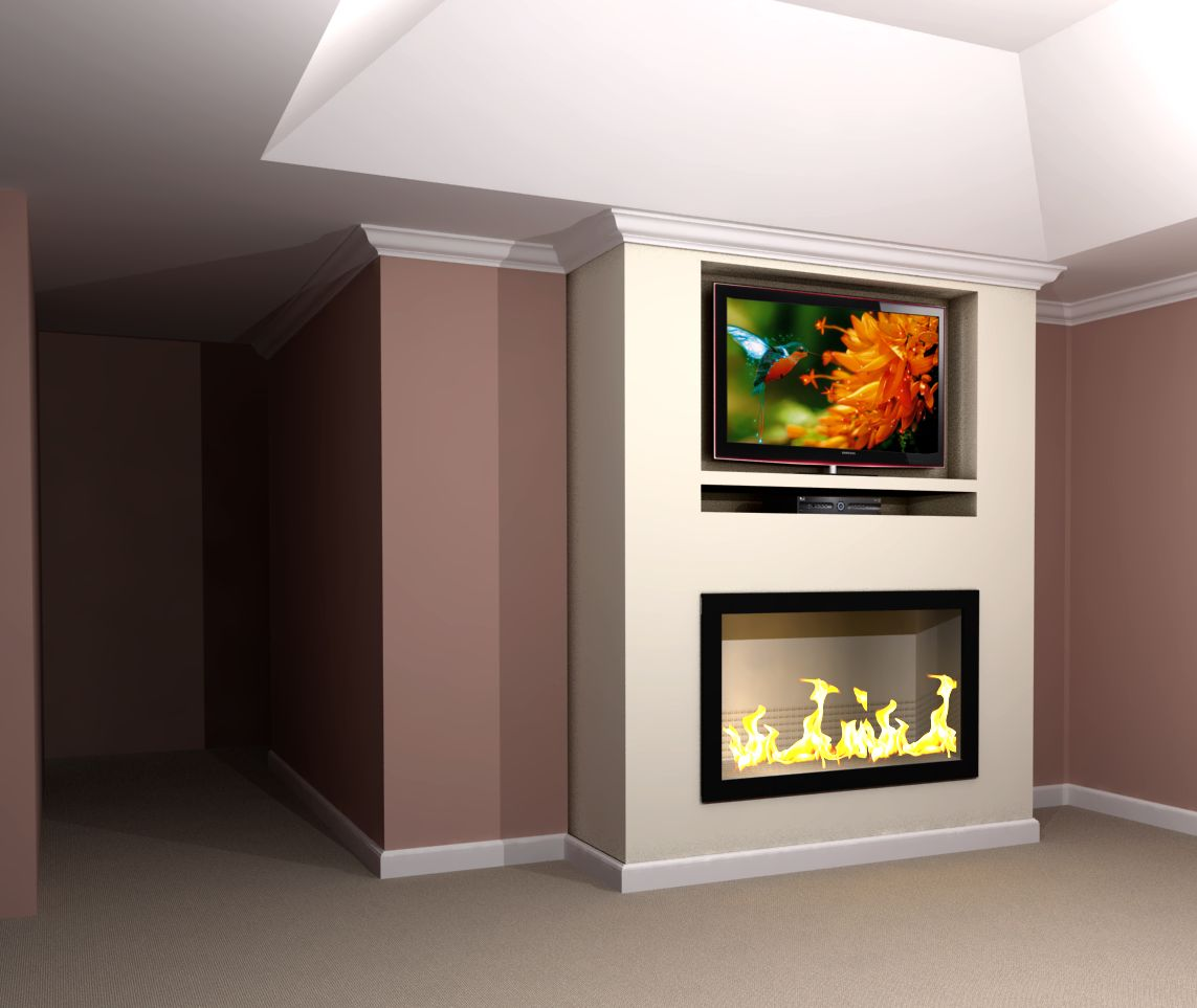 Contemporary built in tv fireplace wall rendering nick miller design - Fire place walls ...