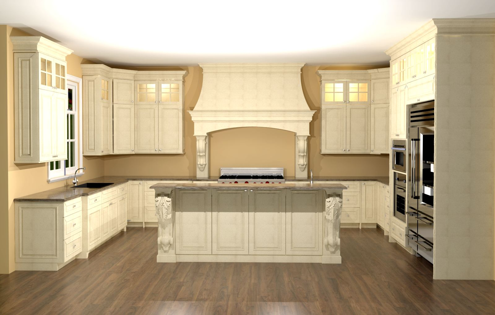 Large Kitchen With Custom Hood Features Large Enkeboll Corbels On Island Nick Miller Design