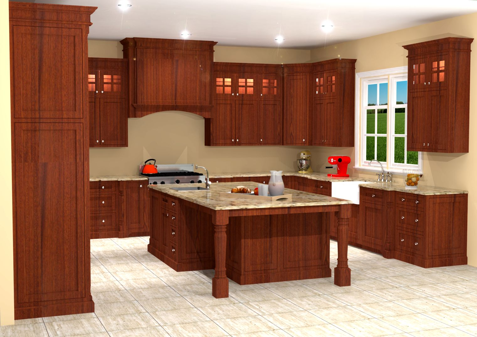 Inset Mahogany Kitchen Design / Rendering | Nick Miller Design