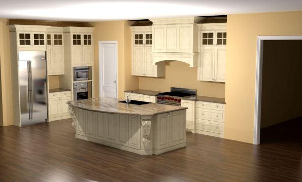 glazed kitchen with large island corbels and custom hood