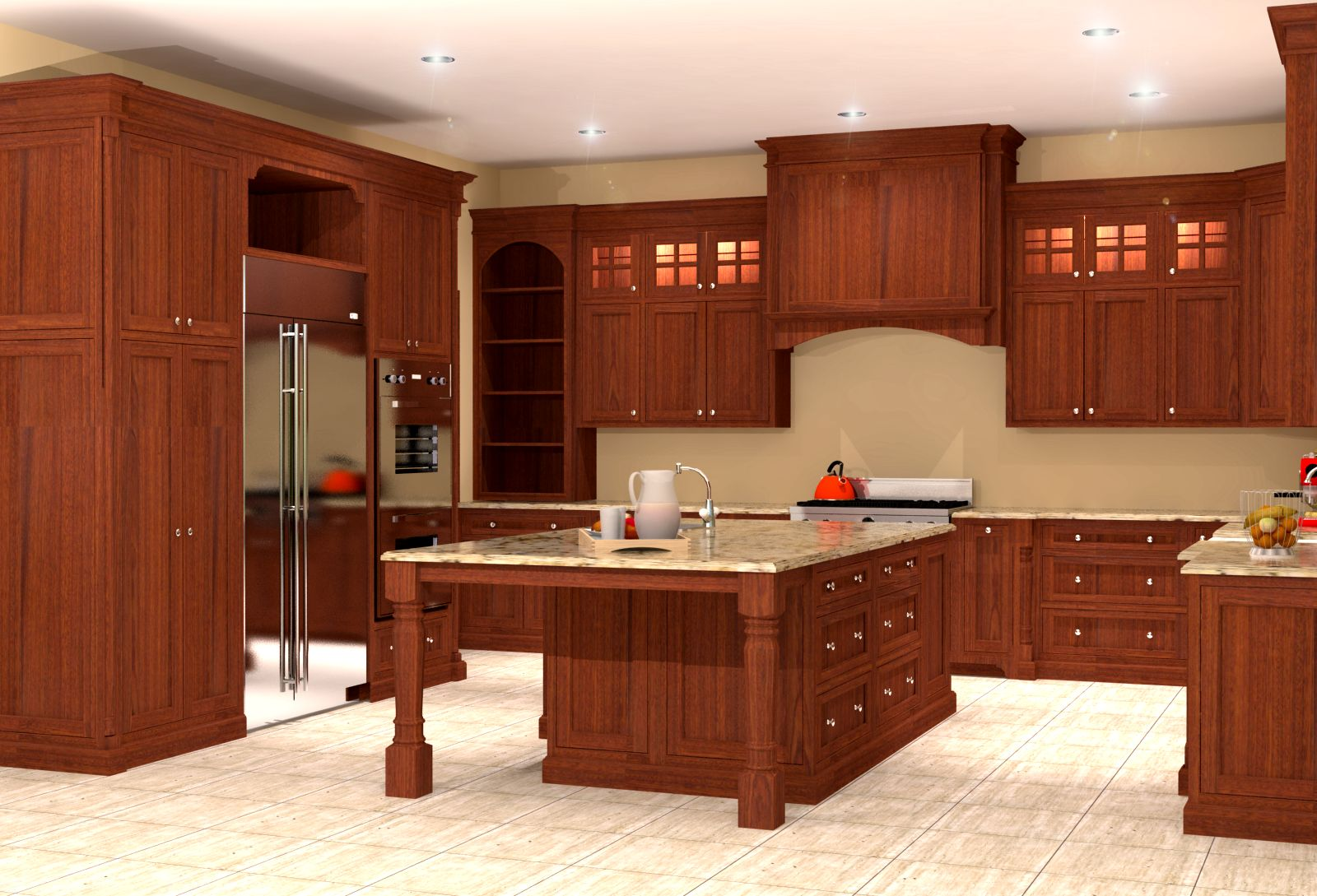 inset mahogany kitchen design rendering nick miller design