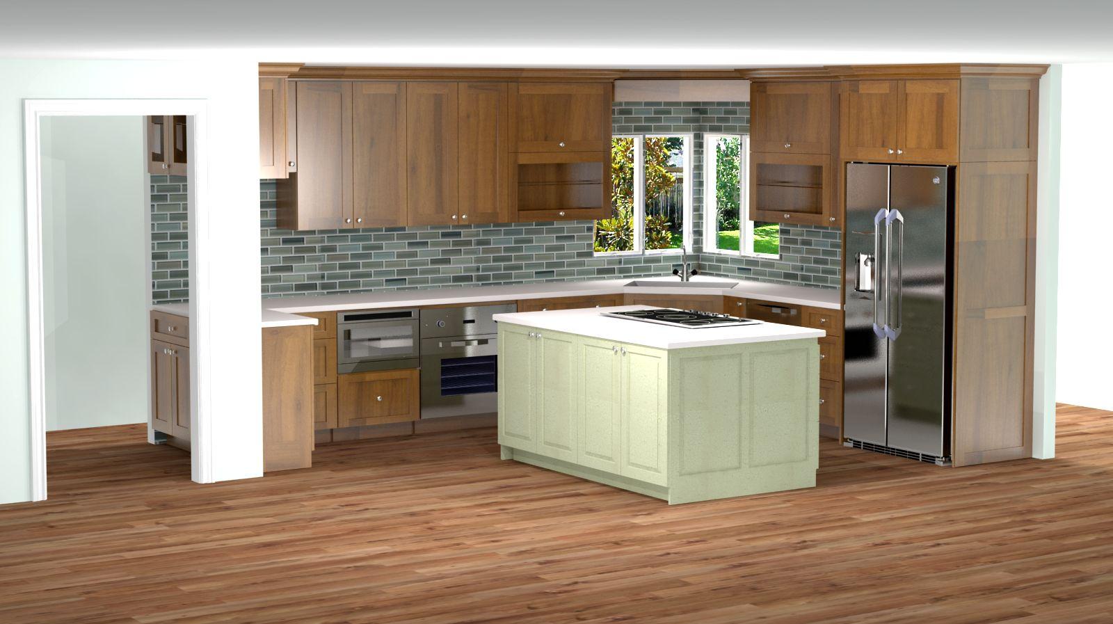 Kitchen 3d Rendering Shaker Doors Alder Wood Nick Miller Design
