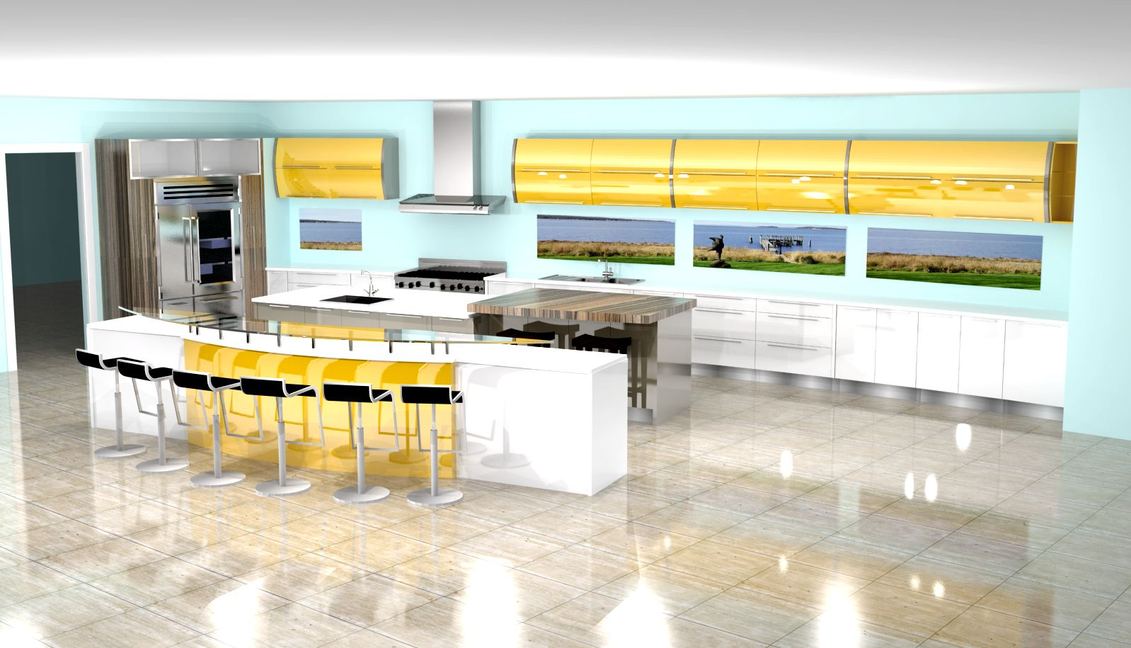 Modern kitchen 3d rendering nick miller design for White gloss kitchen wall cupboards