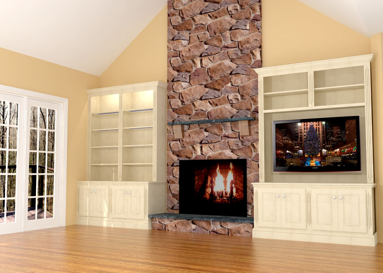 Fireplace wall built ins w led tv nick miller design - Fire place walls ...