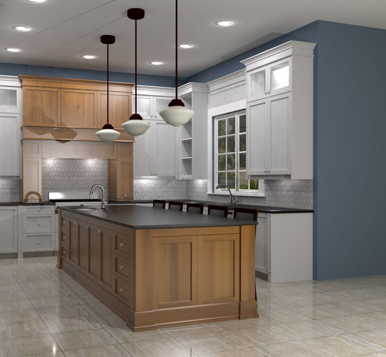Kitchen With Living Room Design: White Shaker Kitchen W/ Maple Island